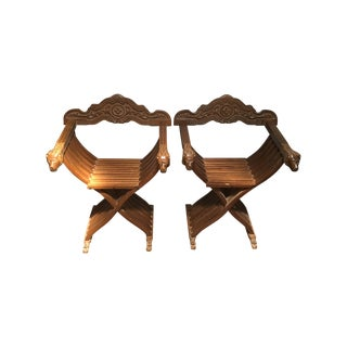 Vintage Savonarola Dante Lion Head Chairs - A Pair