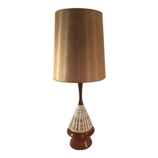 Mid Century Ceramic and Teak Table Lamp