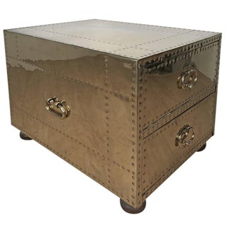 Sarreid Brass & Wood Clad Large End/Side Table