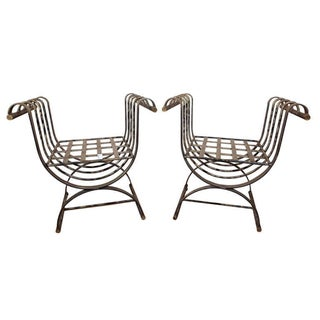 Metal Garden Benches - A Pair