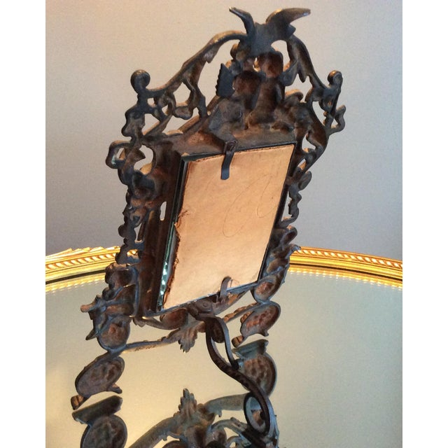 Antique Cast Iron Cherub Mirror - Image 9 of 11