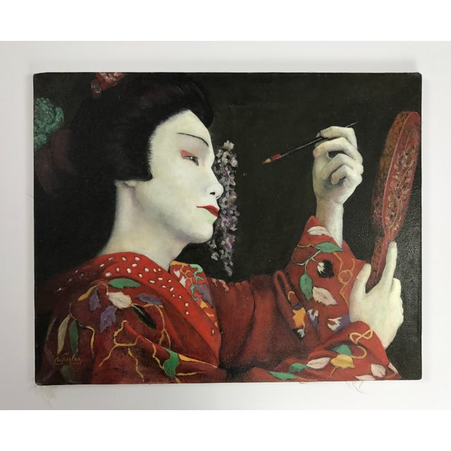 Geisha Applying Make-up Original Oil Painting - Image 2 of 8