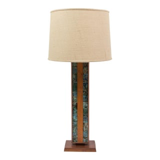 Tiled and Walnut Table Lamp