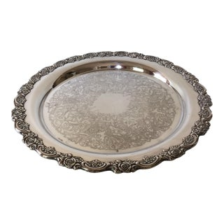 Vintage Oneida Silver Plated Rose Rimmed Serving Platter