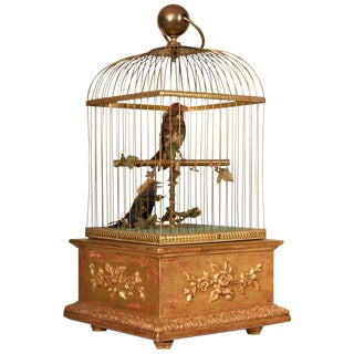Late 19th Century French Automation Singing Birds in Giltwood & Brass Cage
