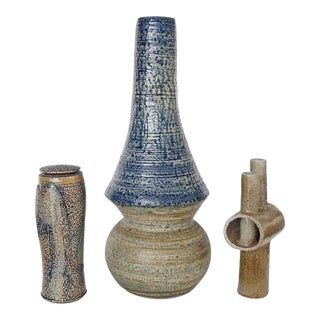Mid-Century Modern Studio Art Stoneware Pieces - Set of 3