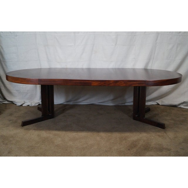 Vintage Danish Modern Rosewood Round Dining Table - Image 9 of 10