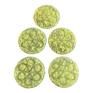 Vintage Yellow Drink Coasters - Set of 5