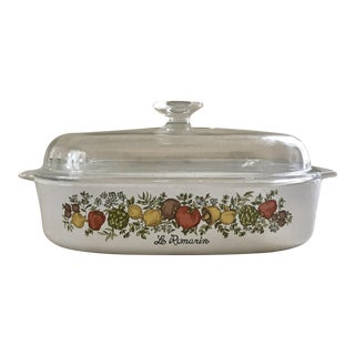 Modern Coring Ware Covered Casserole, Fall Harvest Motif