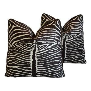 Designer Brunschwig & Fils Zebra & Leather Pillows - A Pair
