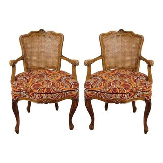 French Louis XV-Style Armchairs - Pair