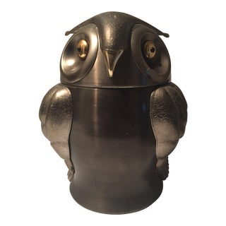 Mid-Century Metal Owl Ice Bucket