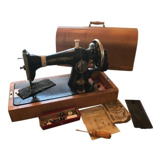 Circa 1940 Russian Hand Crank Sewing Machine Book Case & Feet