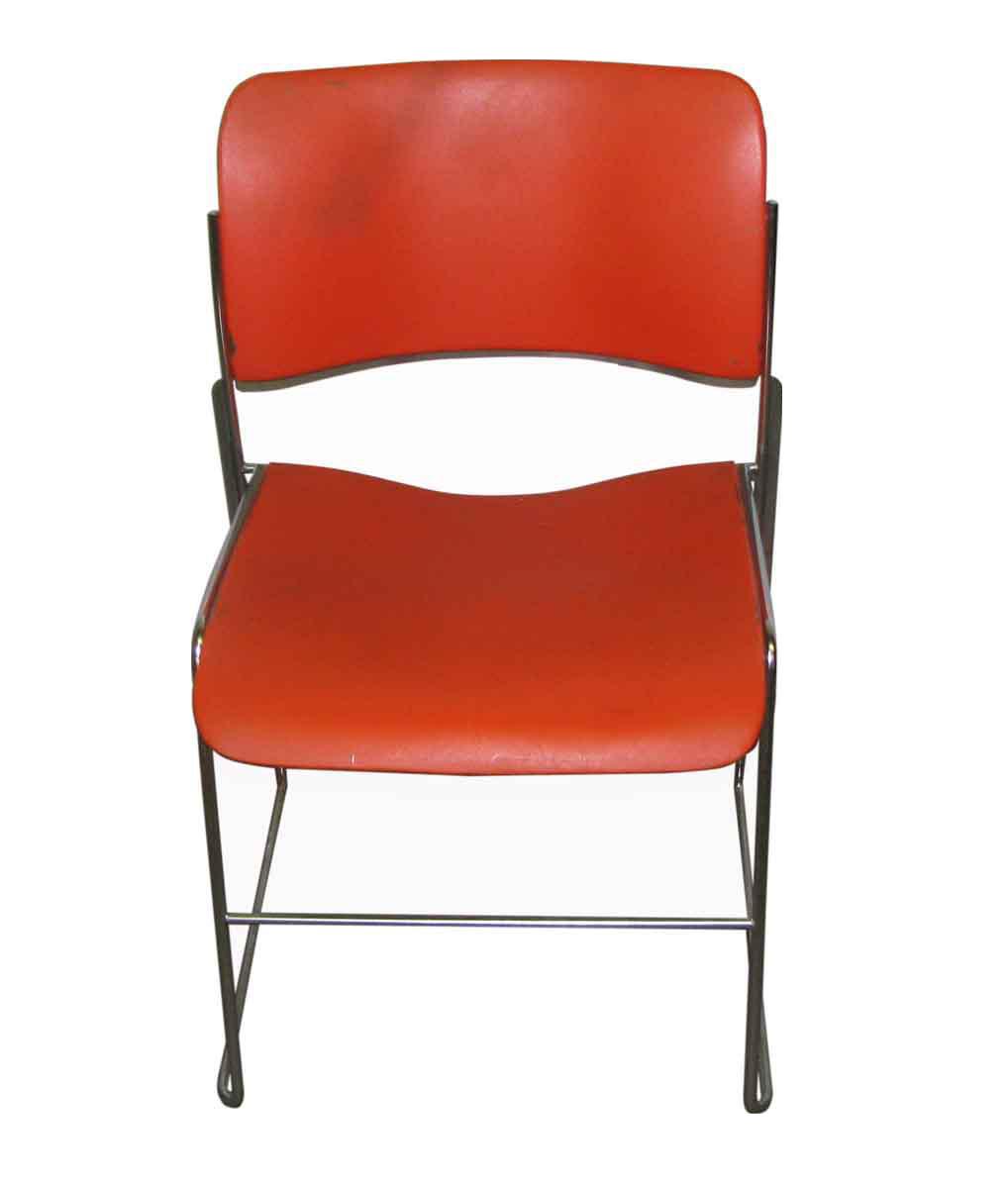 Retro Metal Plastic Stacking Chairs Set Of 3 Chairish