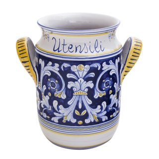 Italian Majolica Antico Deruta Pattern Utensil Holder