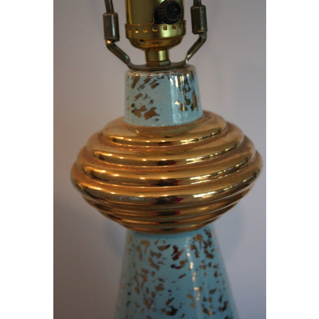 Mid-Century Turquoise & Gold Lamp - Image 4 of 4
