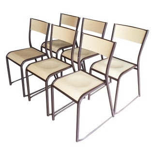 French Vintage Industrial Dining Chairs - Set of 6