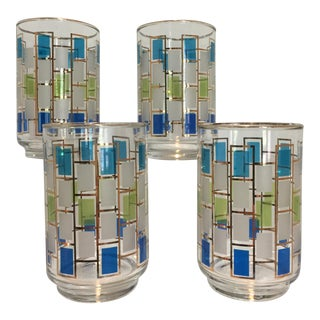 Mid-Century Blue, Green & White Glass Drinking Glasses - Set of 4
