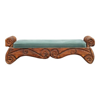 1940's Mid-Century Carved Wood Sitting Bench