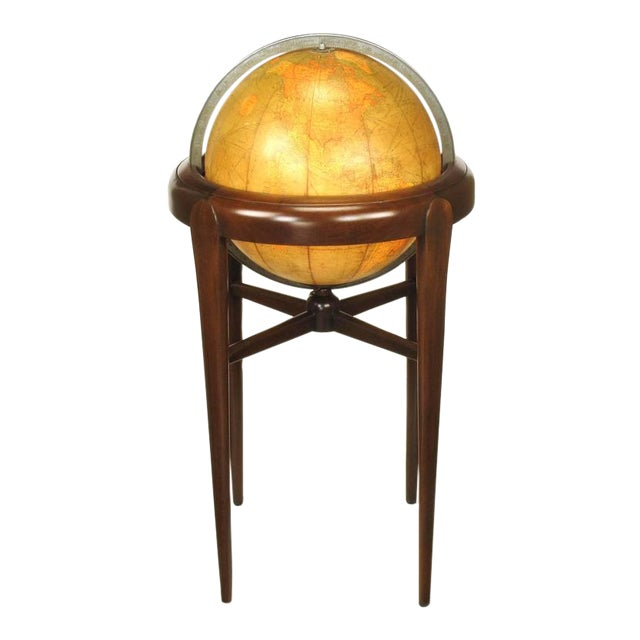 Replogle Illuminated Glass Globe on Mahogany Articulated Stand, circa 1940s - Image 1 of 10