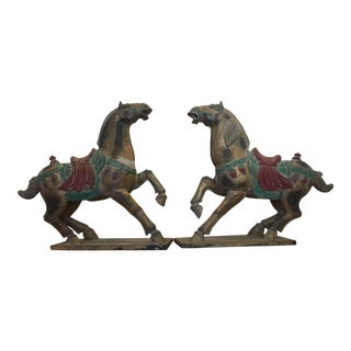 Polychrome Wooden Horse Statues - a Pair
