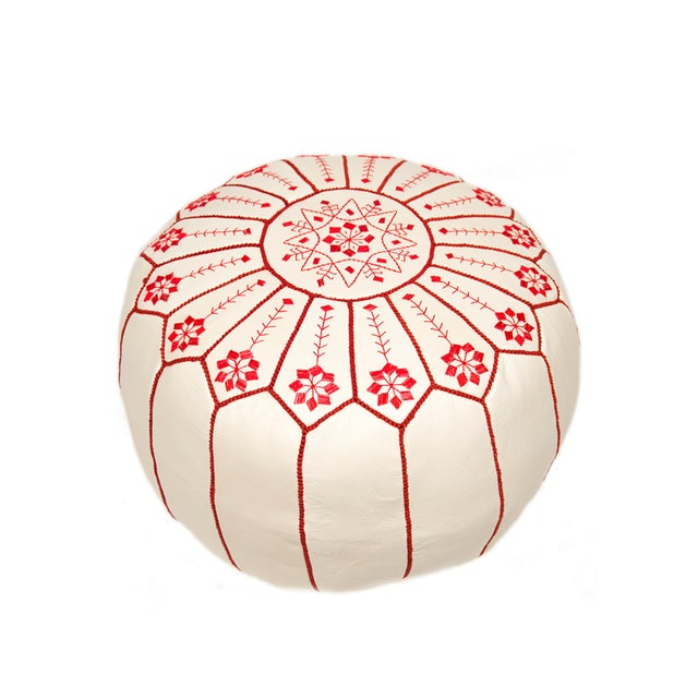 Embroidered Leather Pouf, Red on White Starburst Stitch - Image 5 of 5