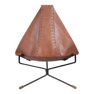 Enclosed Lotus Lounge Chair by Dan Wenger in Leather and Steel