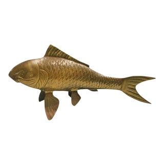 Vintage Brass Koi Fish Statue