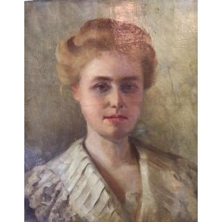 Antique French Oil Portrait of Woman
