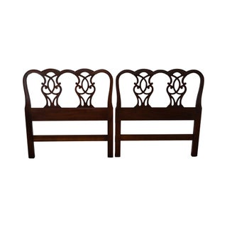 Hickory Chair Mahogany Chippendale Style Twin Headboards - Pair