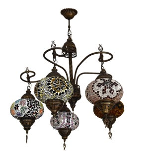 Turkish Handmade Glass Mosaic Multi Globe Light Fixture