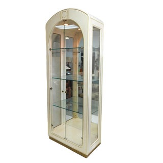 Mastercraft Lacquer & Brass Tall Display Cabinet