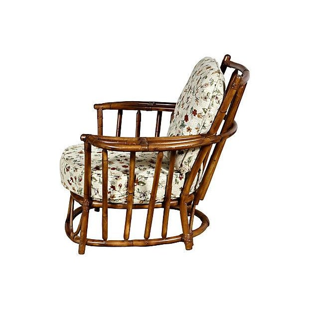 Image of 1950's Rounded Rattan Lounge Chair