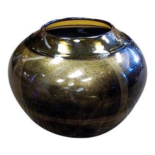 Italian Murano Glass Seguso Pinwheel Gold Aventurine Vase