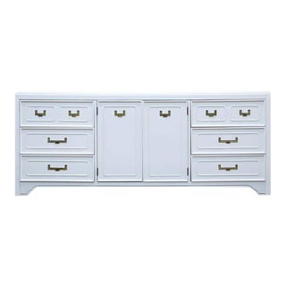 Stanley White Lacquered Burlwood Campaign Buffet