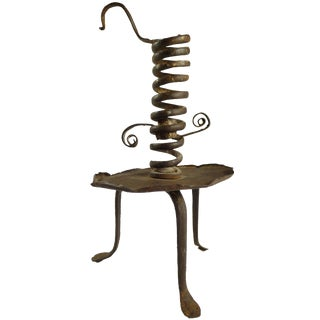 Antique 18th C. Wrought Iron Adjustable Tripod Candle Holder