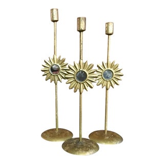 Vintage Gold Sunburst Mirror Candle Holders- Set of 3