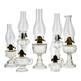 Vintage Clear Glass Oil Lamps - Set of 7