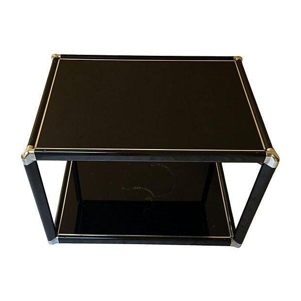 Mid Century Black Glass Amp Chrome Side Table Chairish