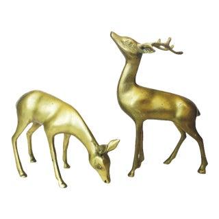 Vintage Brass Deer Figurines - A Pair
