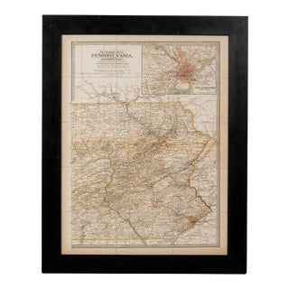Sarreid Ltd Framed Reproduction Map of East Pennsylvania