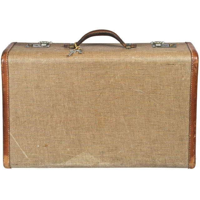 Image of Vintage Fabric & Leather Suitcase