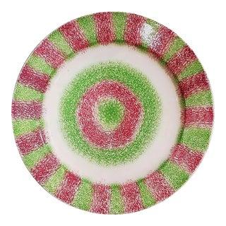Rainbow Red & Green Bull's Eye Spatterware Plate