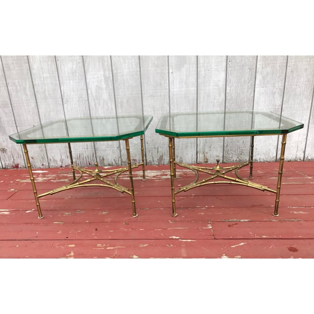 Hollywood Regency Faux Bamboo Side Tables - A Pair - Image 2 of 8