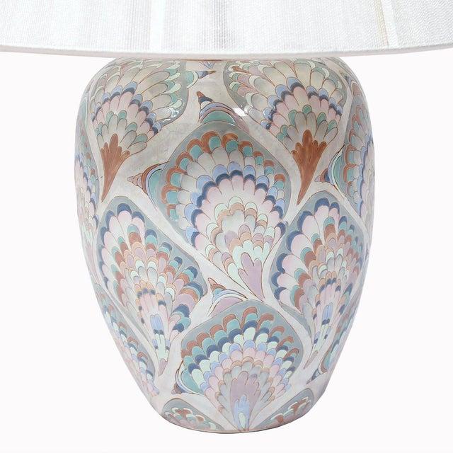 Vintage Pastel Marbleized Ceramic Lamps - A Pair - Image 3 of 8