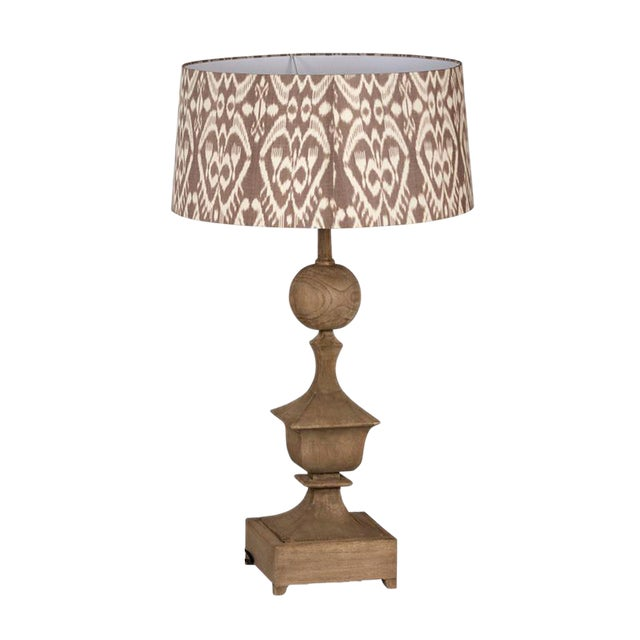 Image of Carved Wood Table Lamp