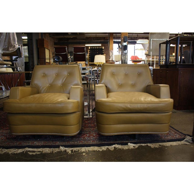 Image of Baker Club Chairs in Holly Hunt Leather - A Pair