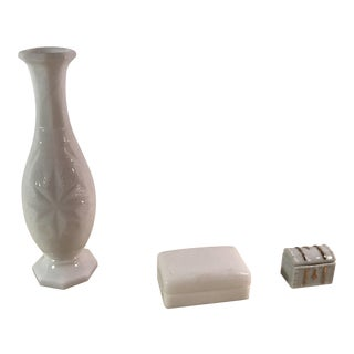 Mid-Century Milk Glass Vase & Boxes - Set of 3