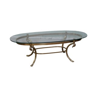 LaBarge Style Brass Swan Neck Oval Glass Top Coffee Table