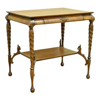 Antique Victorian Oak Barley Twist Figural Ladies Writing Desk Hall Table